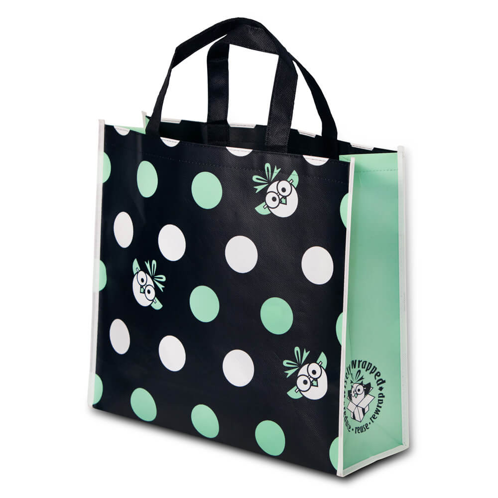 teal and black polkadot reusable giftbag