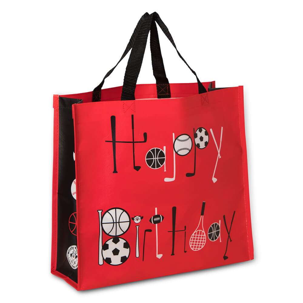 happy birthday reusable gift bag sports