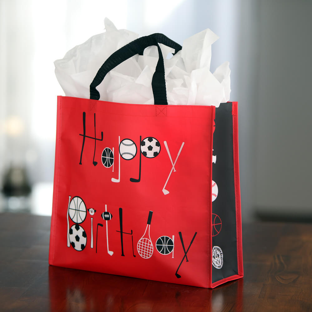 sports birthday reusable gift bag
