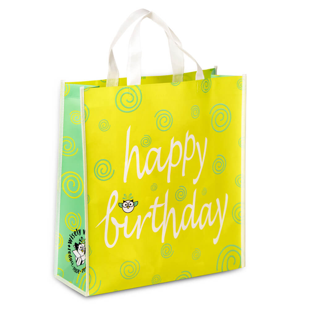 reusable gift bag reads Happy Birthday white background