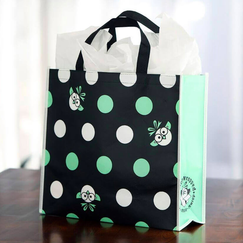 reusable gift bag polka dot
