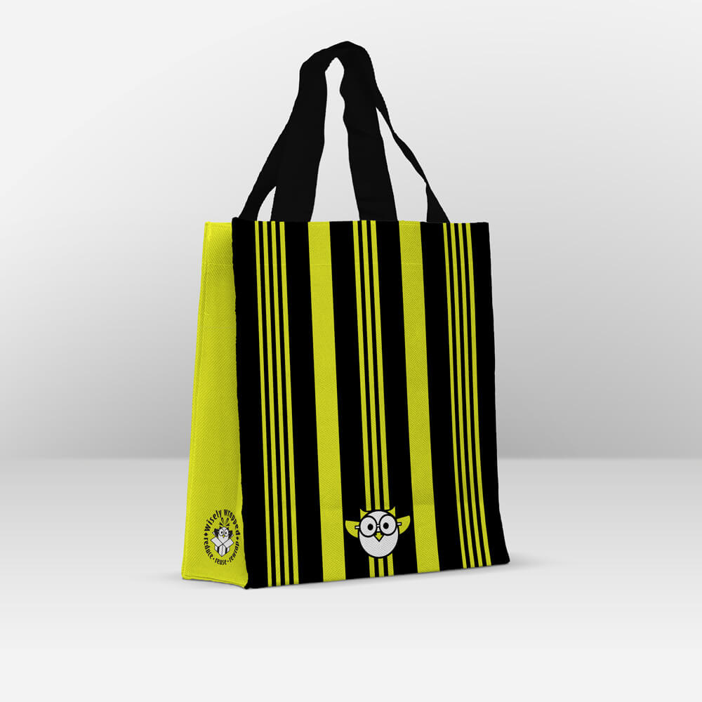 black charteuse stripe reusable gift bag