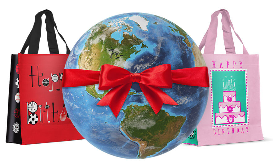 reusable gift bags with the earth