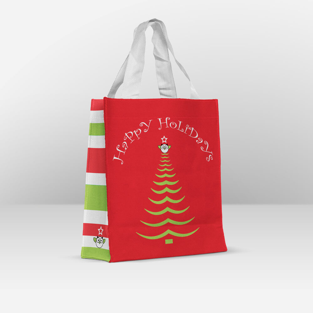 happy holidays reusable gift bag
