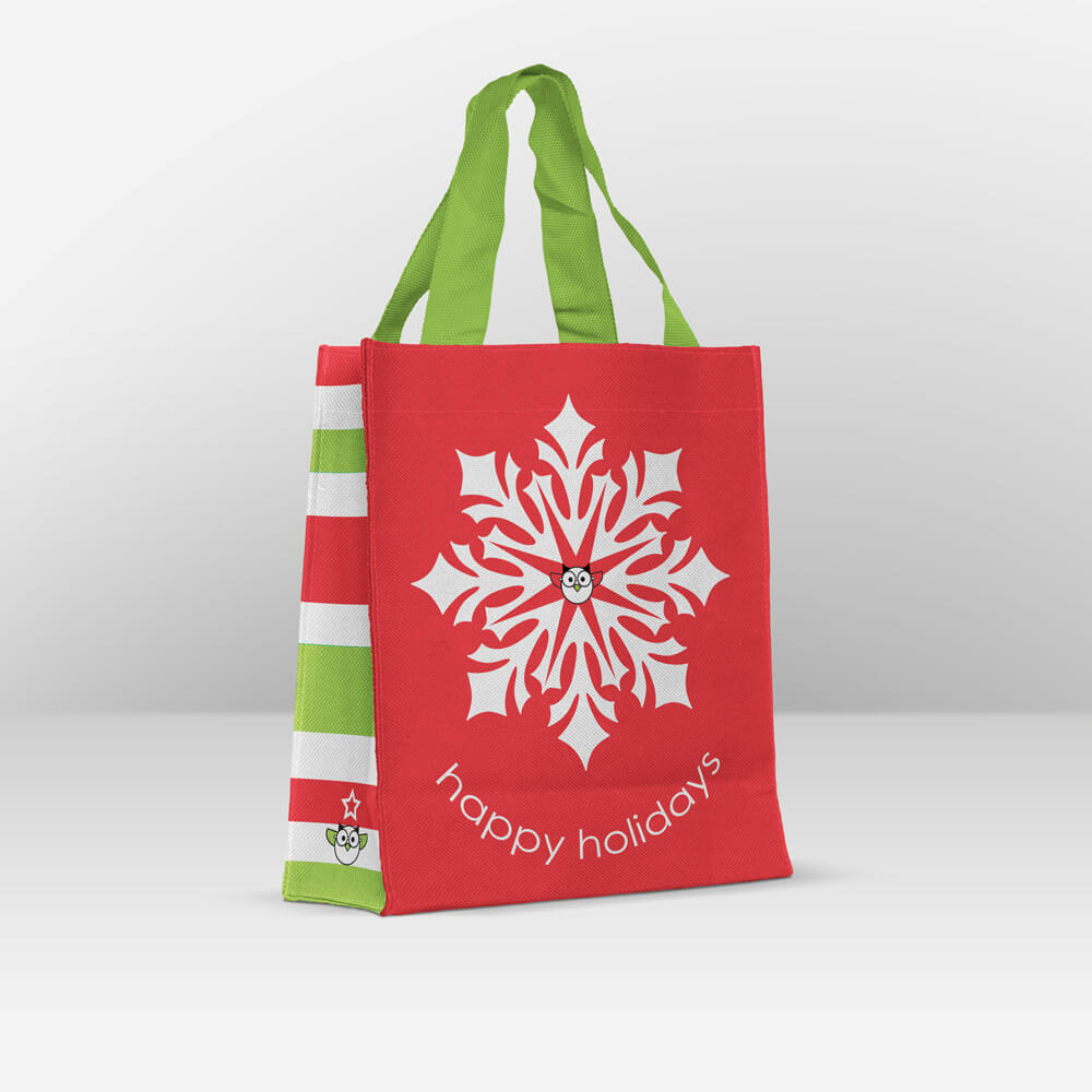 happy holidays snowflake reusable gift bag
